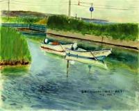 藻琴川河口よりオホーツク海を見る