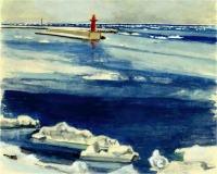 沙留港の流氷